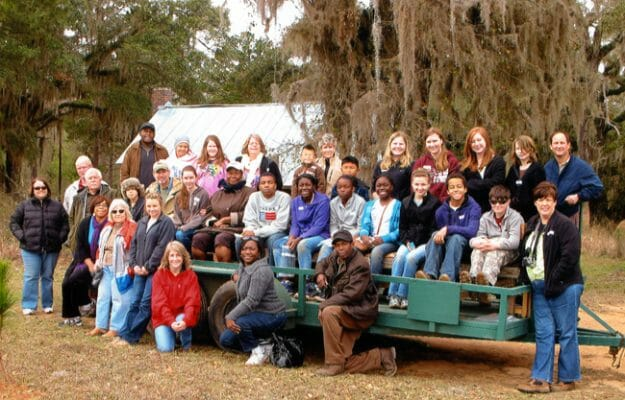 Dig Day group on trailer