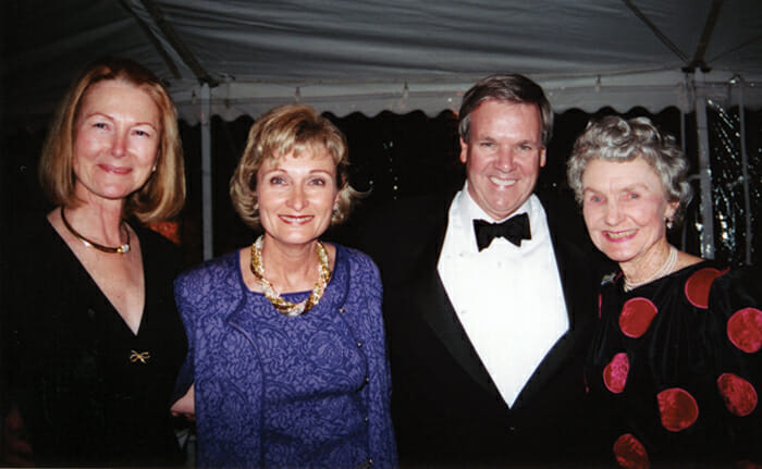 Cheryl Richardson, Henrietta Walter, Ebe Walter and Louise Humphrey at the 2002 Naturalists' Ball