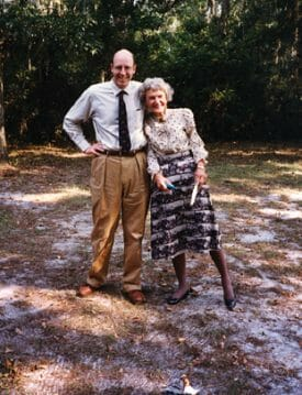 Walter Sedgwick and Louise Humphrey at the burning of the mortgage note for Hanna Hammock, 1997.