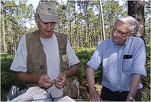Jim Cox and E.O. Wilson at the Wade Tract Preserve