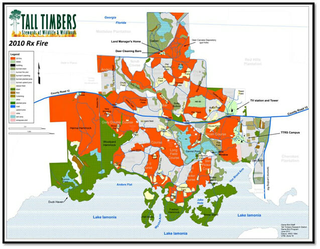 Tall Timbers prescribed fire map