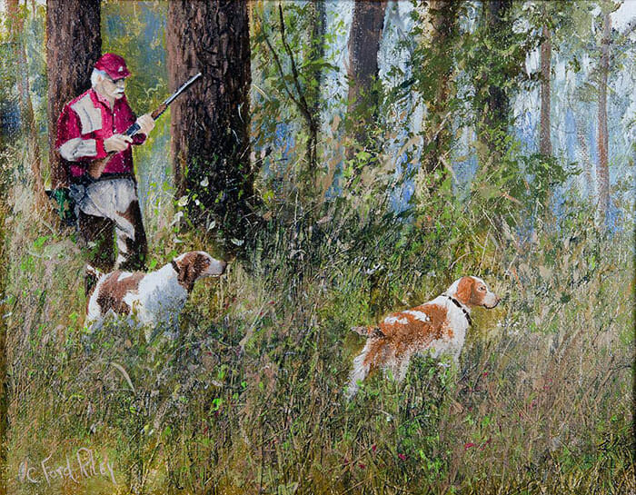Painting of Lane Green with Brittany spaniels by C. Ford Riley