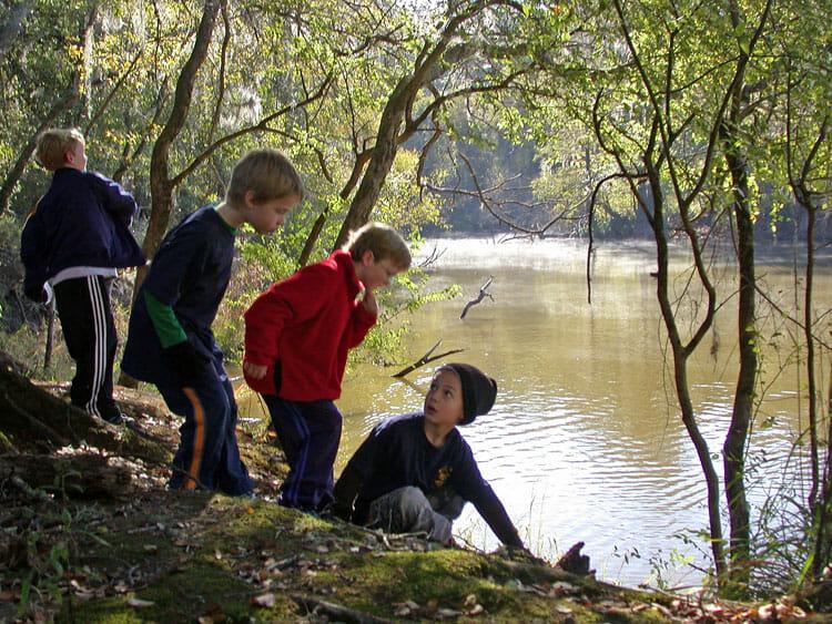 Finding trash on the banks of the Ochlockonee River