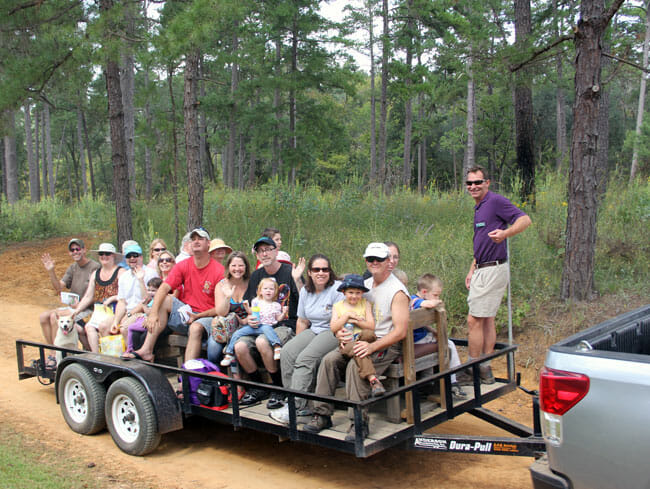 Tall Timbers land manager interprets on a wagon tour.