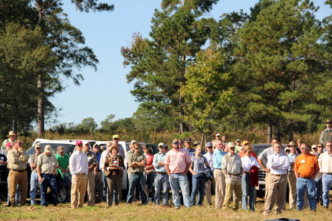 Fall Field Day attendees at field stop