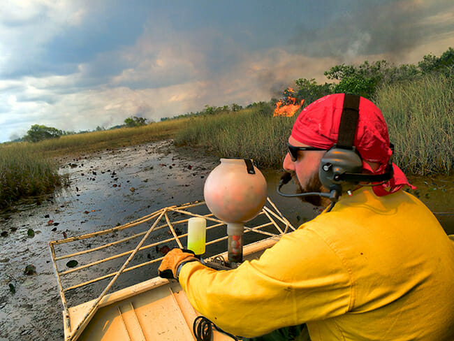 Stefano Macrelli, from Italy, igniting the sawgrass marsh from an airboat at Loxahatchee NWR.