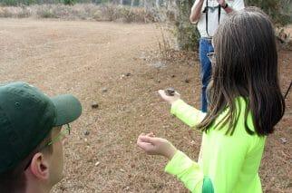 Girl releasing sparrow