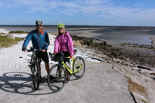 Cyclists at Mashes Sands