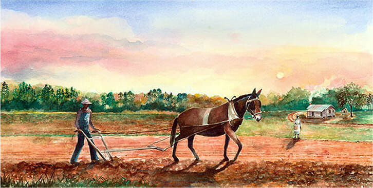 Watercolor, Plowing with Mules by Eluster Richardson