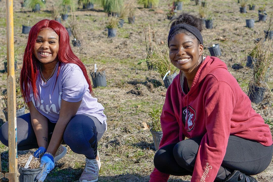 Students worked hard for several days to get the site planted, but enjoyed the time connecting outside.
