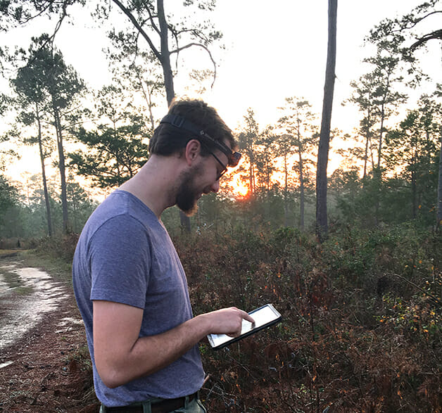 Data collection during an early morning covey call